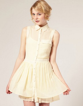 Image 1 of ASOS Mixed Fabric Ruffle Dress