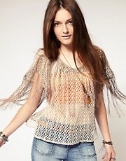 Free People Fringed Crochet Short Sleeve Top
