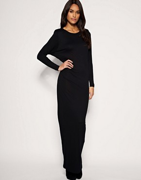 Image 1 of ASOS Shoulderpad Batwing Jersey Maxi Dress