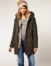 ASOS Parka With Detachable Faux Fur Lining