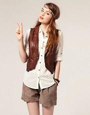 ASOS '70s Leather Waistcoat