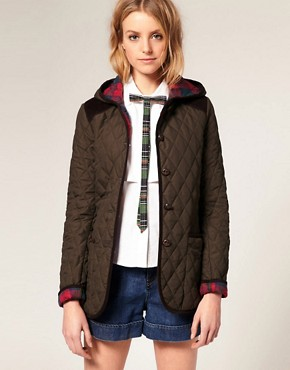 Image 1 of ASOS Quilted Jacket With Hood and Cord Trim
