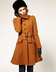 ASOS Fit And Flare Coat With Belt