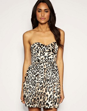 Image 1 of ASOS Leopard Bandeau Dress