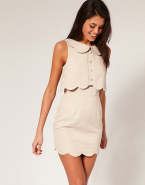Image 1 of ASOS Shift Dress with Scallop Detail