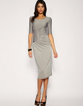 Image 1 of Paprika Gathered Side Drape Midi Length Dress