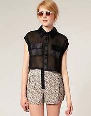 ASOS Sheer Cropped Shirt With Double Pocket