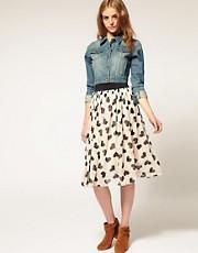 ASOS Heart Print Midi Skirt