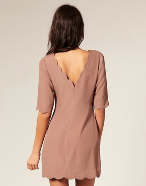 Image 2 of ASOS Scallop Detail Shift Dress