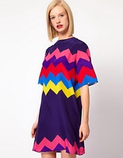House of Holland Oversized Tee Dress in Silk Zig Zag