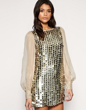 Image 1 of ASOS Chiffon Sleeve Embellished Tunic