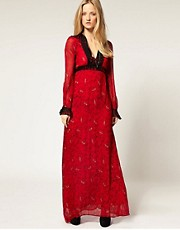 Winter Kate Sweet Rose Silk Maxi Dress