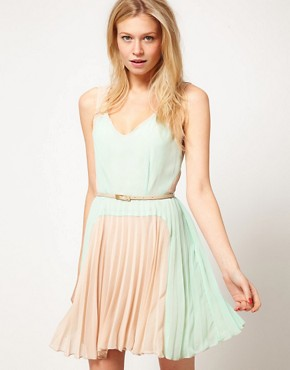 Image 1 of Oasis Colour Block Pleat Dress