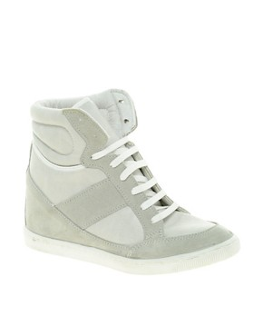 Image 1 of ASOS DENY Wedge High Top Sneakers With Suede Detail