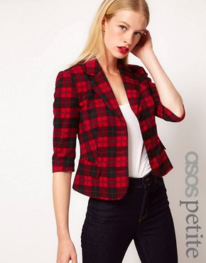 Image 1 of ASOS PETITE Exclusive Cropped Blazer In Check