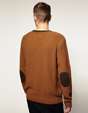Image 2 of ASOS Textured Knit Elbow Patch Crew Neck Jumper