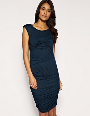Image 1 of ASOS Twist Bust Jersey Ruched Dress