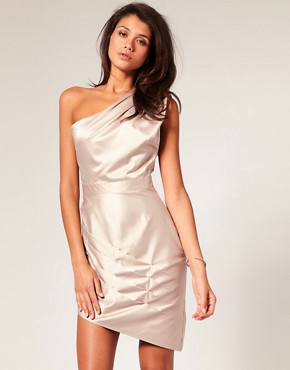 Image 1 of Lipsy One Shoulder Dress in Draped Satin