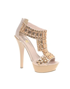 Image 1 of Miss KG By Kurt Geiger Hamilton Beaded Platform T-Bar Sandal