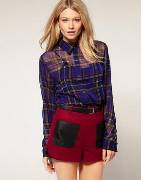 Image 1 ofMotel Laurel Tartan Sheer Chiffon Shirt