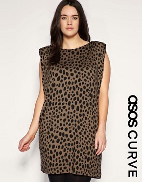 Image 1 of ASOS CURVE Shoulder Pad Animal Shift Dress