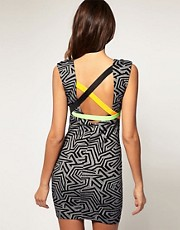 ASOS Bodycon Printed Dress with Neon Strapping