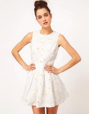 Image 1 ofNishe Embroidered Daisy Prom Dress