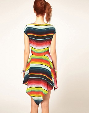 House Of Holland Stripe Poncho Dress In Silk - £180.00