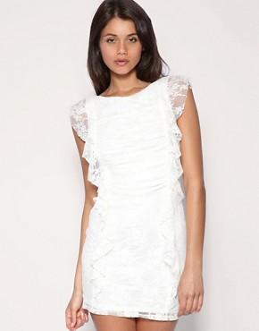 Image 1 of ASOS Lace Ruffle Tie Back Dress