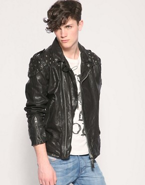 Image 1 ofDiesel Lahampos Studded Leather Jacket