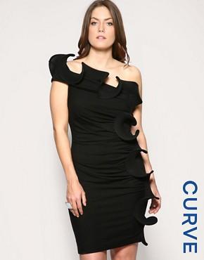 Image 1 ofASOS CURVE Wired Ruffle One Shoulder Tunic Dress