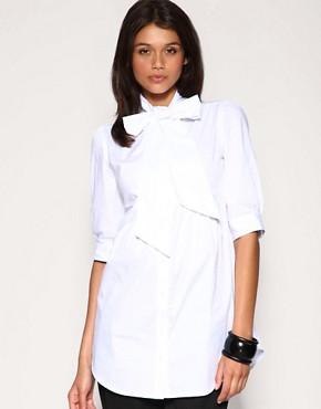 Image 1 ofASOS Pussybow Longline Shirt