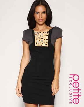 Image 1 of ASOS PETITE Exclusive Bodycon Embellished Colour Block Dress