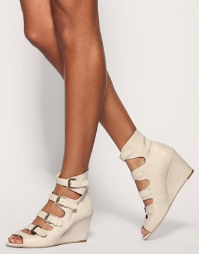 Image 3 of ASOS RASCAL Leather Buckle Wedges