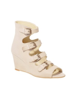 Image 1 of ASOS RASCAL Leather Buckle Wedges