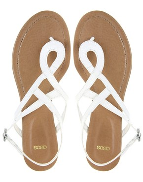 Image 3 of ASOS FANTASY Leather Swirl Toe Post Sandals