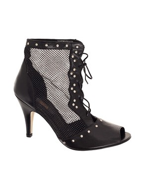 Image 1 ofASOS TALEXA Leather Mesh And Stud Ankle Boot