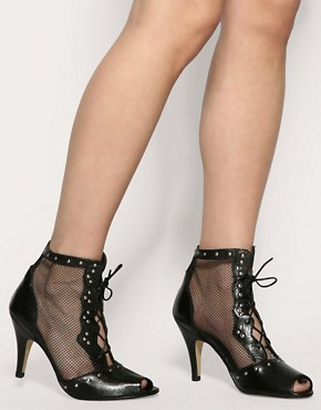 Image 3 ofASOS TALEXA Leather Mesh And Stud Ankle Boot