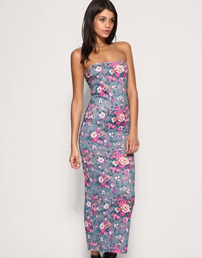Image 1 of Rare Floral Jersey Tube Maxi Dress