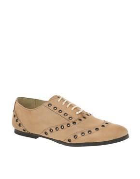 Image 1 ofASOS MILO Leather Eyelet Flat Shoes