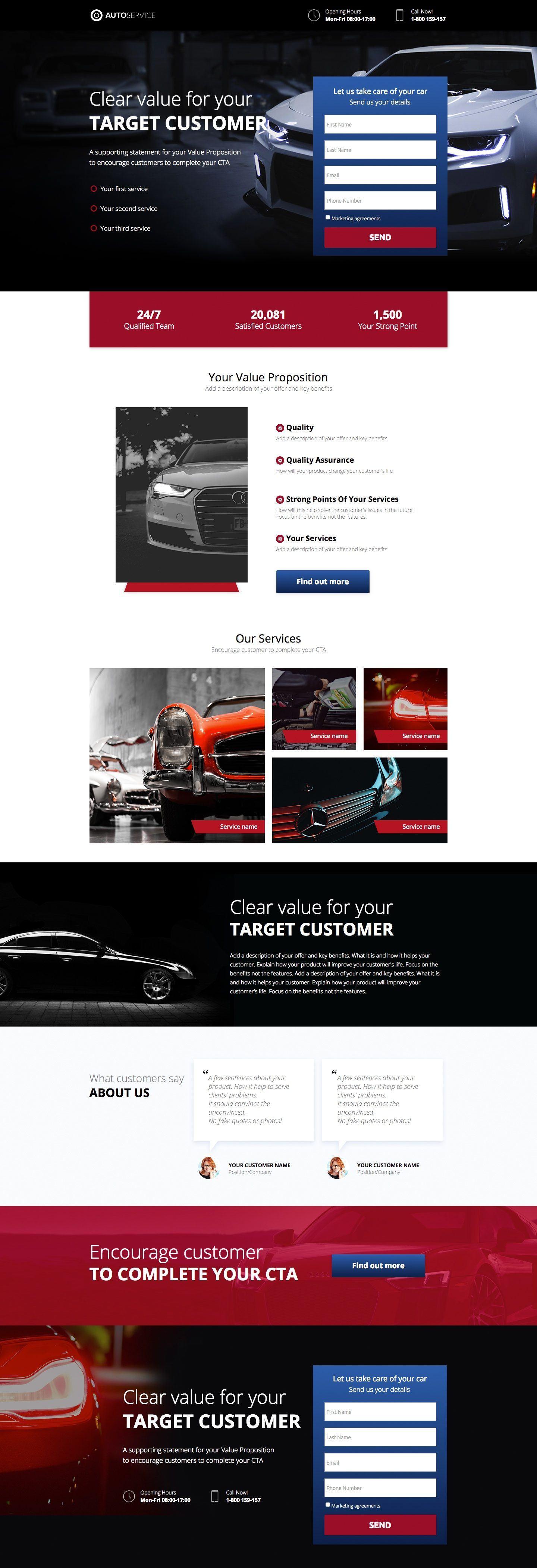 Auto Service Landing Page Template Landingi