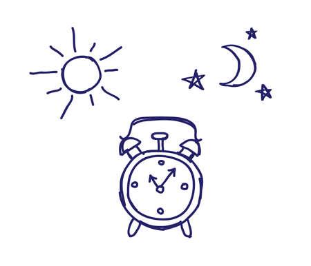 Alarm Clock On A White Background Sun