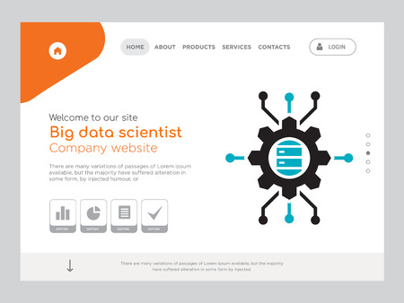 Quality One Page Big Data Scientist Website Template Vector