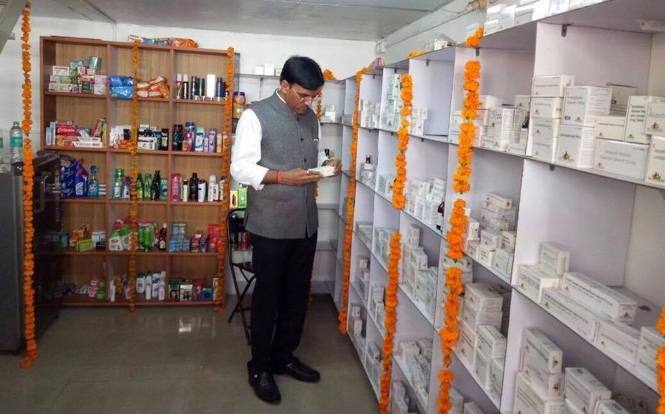 Union minister of state for chemicals and fertilizers Mansukh Mandaviya at the opening of a Jan Aushadhi store. (Source: Jan Aushadi website)