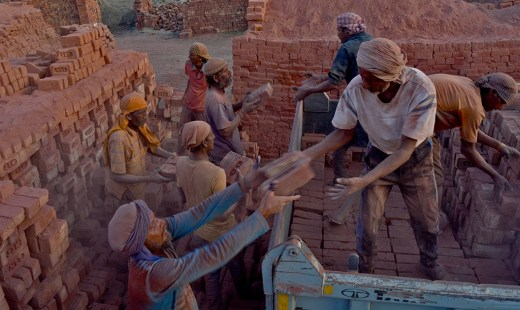 File photo of labourers working in a brick kiln. Representative image