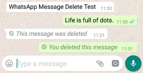 """WhatsApp screenshot of the recipient showing WhatsApp message in the quote window """"Dude work with me"""" deleted"""