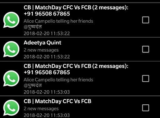 Notification History app doesn't show the text if there is more than one message. The second message from 'Adeetya Quint' is an example