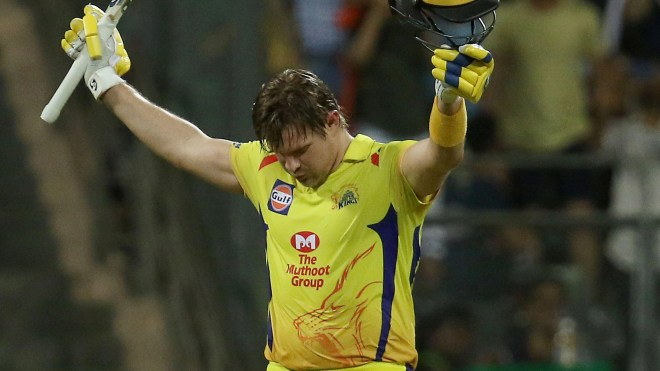 Shane Watson celebrates after scoring a century against Sunrisers Hyderabad.