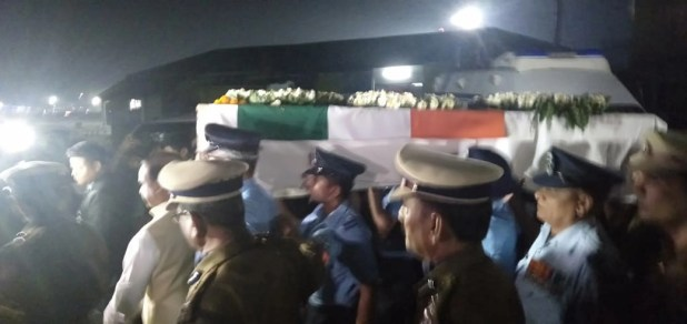 Mortal remains of Head Constable Maneswar Basamatari arrive at Air Force Station in Assam.