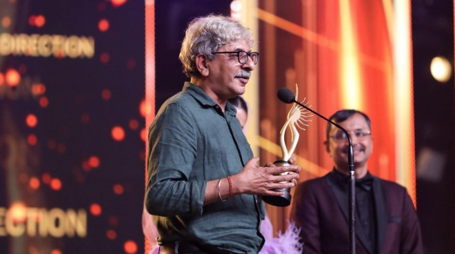 Sriram Raghavan with his IIFA award for Best Director.